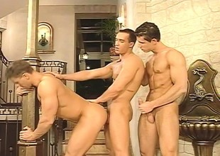 Three handsome gay friends enjoying a heaven on earth of blowjobs and anal sex