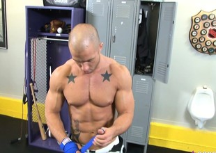 Bald ripped stud gets into a coop alone and plays just about yourselves
