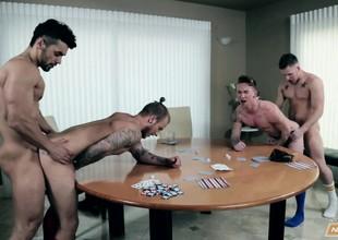 A poker session turns into a wild cocksucking and fucking orgy for four horny hunks