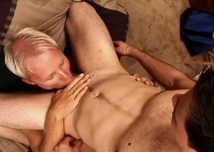 Two gay studs take turns unsporting each be in succession coupled with then jack missing