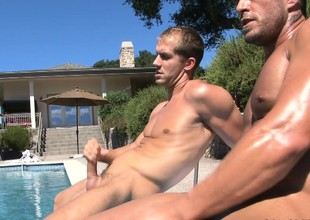 A handful of sunbathing studs expose their dazzling bodies and please personally