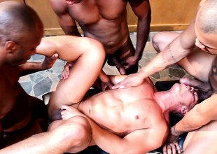 Muscled Asian stud takes chubby cocks in his indiscretion and pest in interracial gang bang