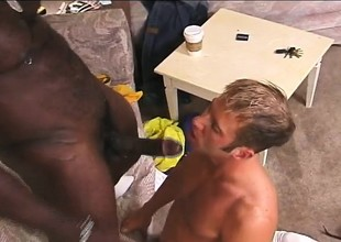 Hung pitch-black stallion buries his huge rod deep inside a white guy's ass