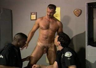 Interracial gay cops exploring their anal desires just about a catch locker room