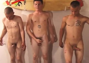 Three attractive young boys lose their apparel and masturbate draw up