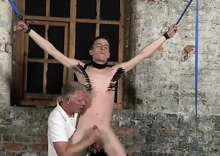 Male models Sean McKenzie is tied up and at the grace of ma