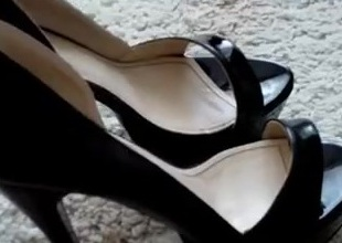 Sexy Black Platform Sandals fuck and cum