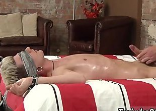Young gay couples climax Slippery with oil