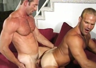 Muscular daddies fuck and moan lustily