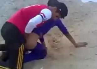 Incompetent Arab babyhood try near fuck in the Sand.
