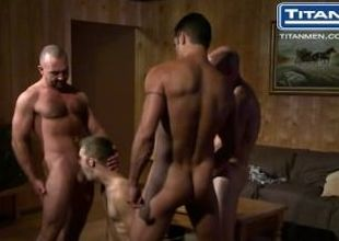 Orgy with 3 Dads coupled with Younger Guy