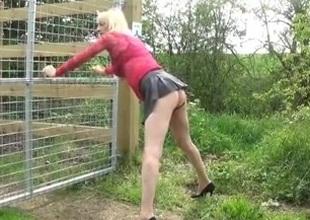 Simatra Blond Fuck Outdoor Doggystyle Crossdress