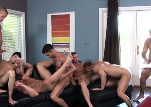 Gorgeous and insatiable studs get together be worthwhile for an ravishing gay orgy