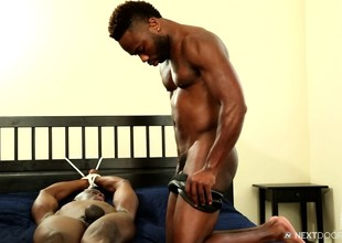 Two handsome black boys satisfy their gay desires and urges on along to bed