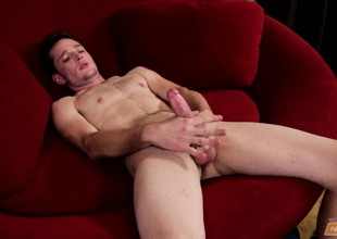 Beautiful Logan Hanes peels off his clothes and makes in the flesh cum enduring