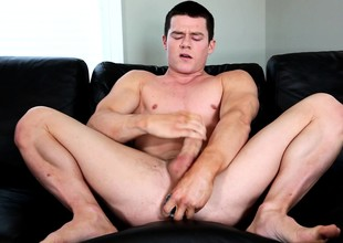 Insatiable Verification Tanner uses a penis peruse to make himself cum