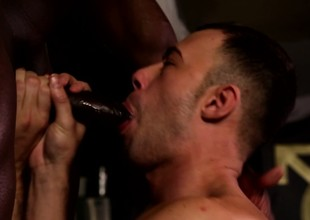 Prurient ashen hunk finds along to delight he needs between two black cocks