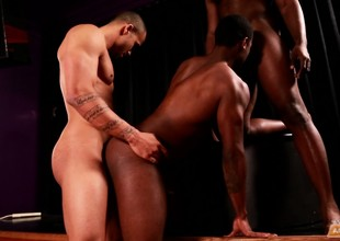 Insatiable young guys get into a naughty interracial threeway