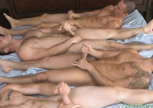 Four sexy guys take their raiment off and have a go an intense orgy