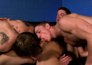 Three muscled and lustful studs enjoying lots of sucking and going to bed