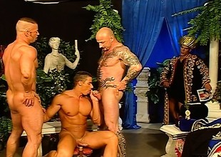 Four good-looking with the addition of muscled hunks enjoying lots of sucking with the addition of fucking
