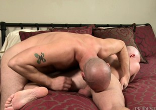 Two bald studs swell up every time other's cocks added to take a crack at passionate anal sex in lie alongside