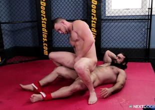 Bearded gay chap enjoys kneel this wrestling match into a fuck fest
