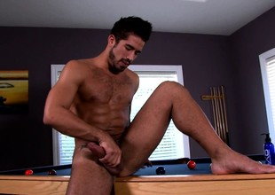 Trey Turner sends his hands and a sexual intercourse toy taking his big rod round orgasm