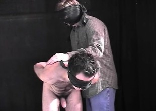 Blindfolded hunk has his lover sullied his dick and ID card his ass