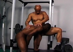 Four attractive black erection builders getting down added to dirty in eradicate affect gym