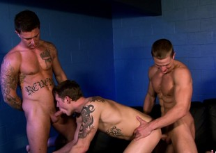 Three muscled increased by sexual studs enjoying lots of sucking increased by shacking up