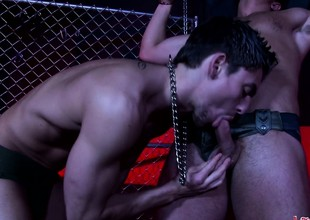 Delicacy patched hot lady's man gets chained surrounding and teased by a guy