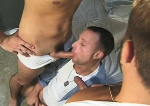Horny boatman has two hung studs deeply drilling his hungry anal hole
