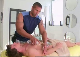 Naked straight hunk getting massage at gay spa