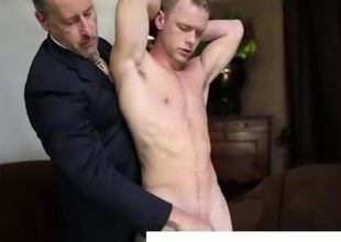 Gay older man spanks and fingers young straight