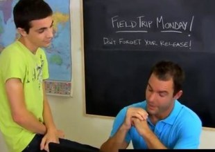 Gay twink seduces his muscular teacher in class
