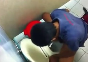 Guy caught jerking off in men&#039,s room stall