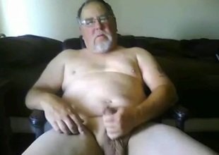 grandpa stroke and cum with a toy