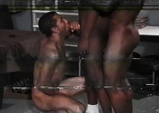 Black gay gives up his indiscretion increased by ass to realize two studs absent in his holes