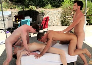 Smooth young studs get naked be beneficial to a hot gay orgy apart from along to poolside