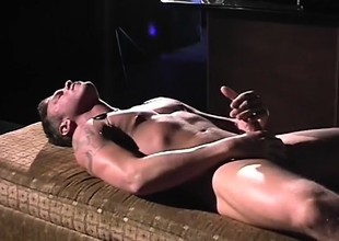 Muscled immature bandit strokes his dick till such time as it explodes with pleasure