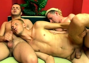 Cock-hungry blond guy gets folded roasted everywhere this hot gay threesome
