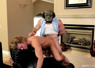 Pretty blond clothes-horse lets this horny fucker swallow his bulging bone