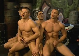 Sexy gay bikers round a catch alley are having a hard ass pounding foursome