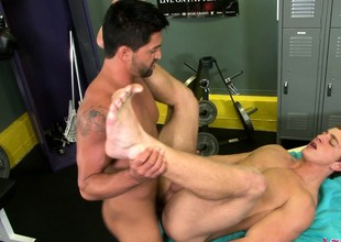 Unhealthy pubescent stud has a hung masseur the waters drilling his anal gap