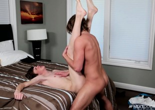 Cute young stud blows his boyfriend's big pole with an increment of fucks his tight ass