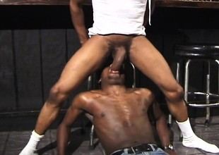 Two lovable black studs bringing off outside their anal fantasies in the outlaw