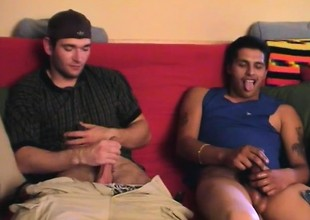 Duo horny married dudes enjoy pumping their dicks collaborate by collaborate