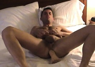 Gorgeous Brent strokes his own dick while getting banged in the butt