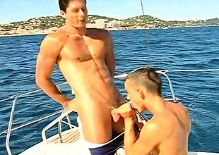 Handsome gay stud Fabrice Felder engages relative to hot anal sexual intercourse on a boat